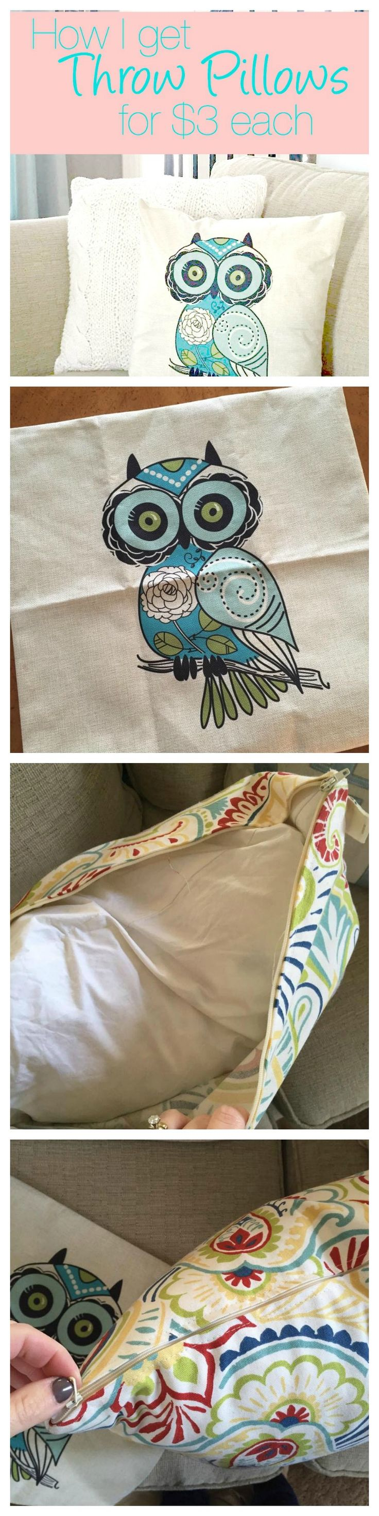 Trying to redecorate a room on a budget? These are pillows decorative on couch (es) that are cheap - but they are seriously worth every penny! You can get new throw pillows for less than $3 each - unreal! So glad I know this secret! http://couponcravings.com/adorable-pillow-covers-on-sale-for-only-3-each/