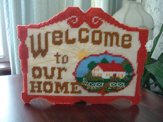 welcome to our home sign in plastic canvas by luckyrosiescreations, $8.00