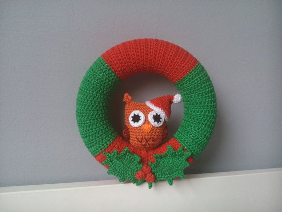 Crochet Christmas Wreath With Owl by kaizerka on Etsy