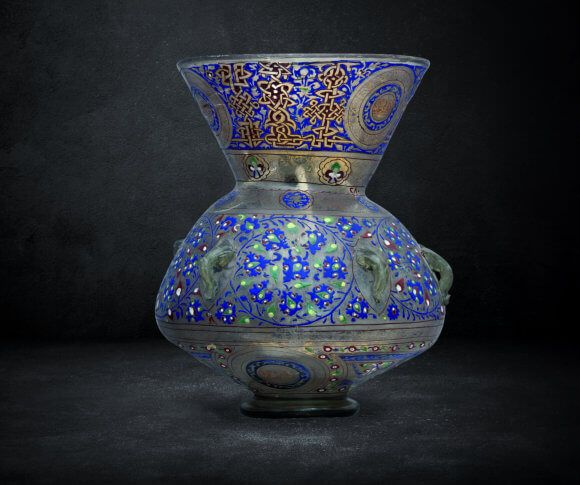"""Mosque lamp, made of enameled glass  in the name of the sultan Hasan    Egypt-Mamluk  8th A.H /14th A.D century"