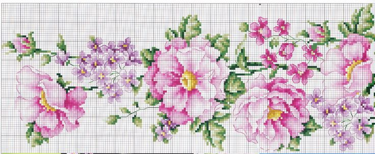 Cross stitch - flowers: Summer flowers (free pattern - chart - part 1)