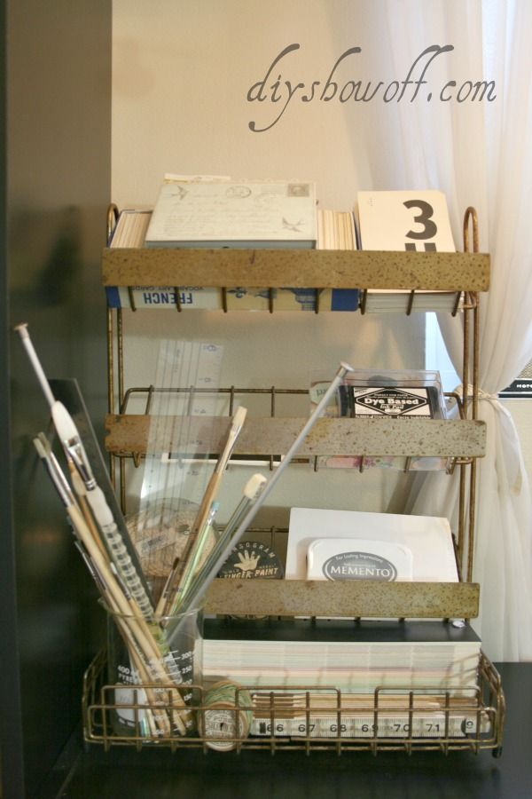 old metal display for an office or craft room - cool junk ideas in this post! By DIY Showoff