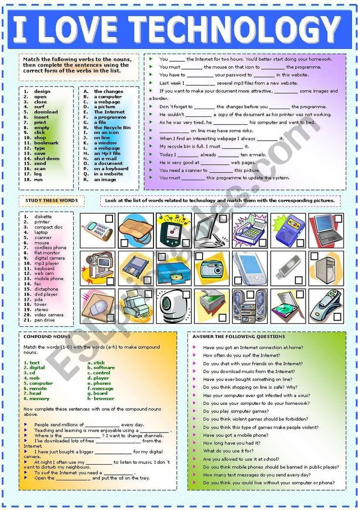 Worksheet to practise vocabulary related to technology