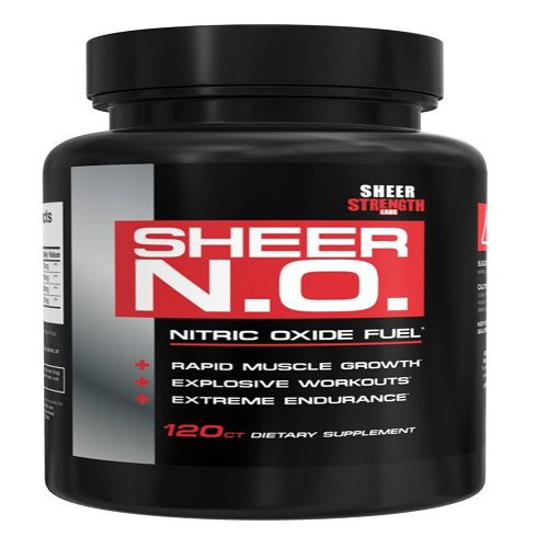 SHEER N.O. Nitric Oxide Booster – Premium Nitric Oxide Supplement for Building Muscle and Strength while Boosting Blood Flow, Stamina, and Endurance, 120 Nitric Oxide Pills, 30 Day Supply