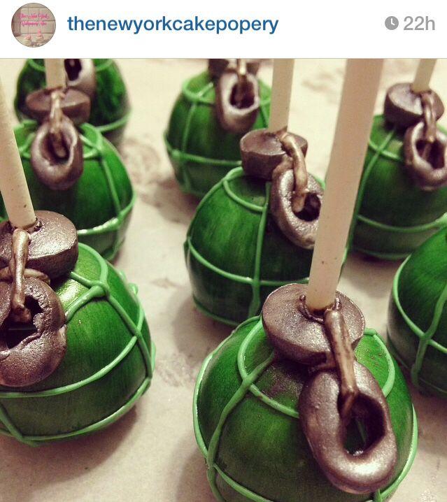 Grenade cake pops