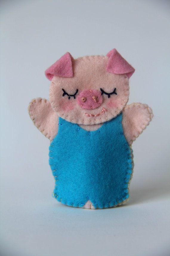 Tres pequeños cerdos dedo dedo Títeres por LesPetitesshop en Etsy