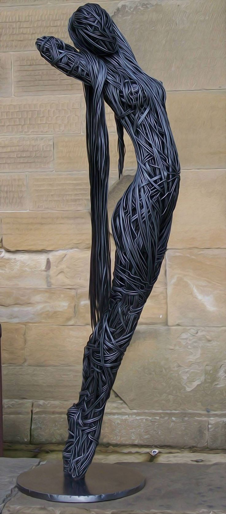 External - Artist Richard Stainthorp Creates Incredible Wire Sculptures Of The Human Body.  This just seems to flow.