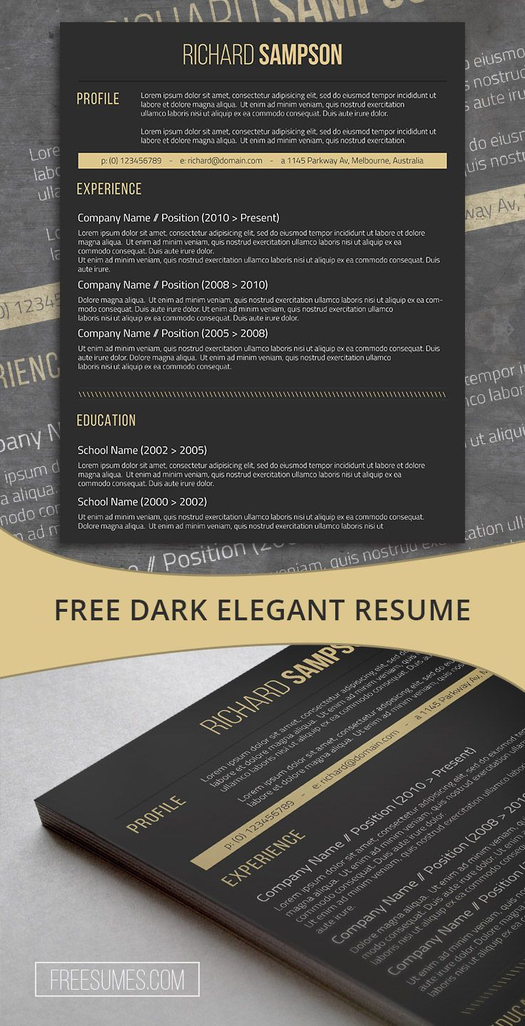 Dark Resume Template Freebie Elegant Dark