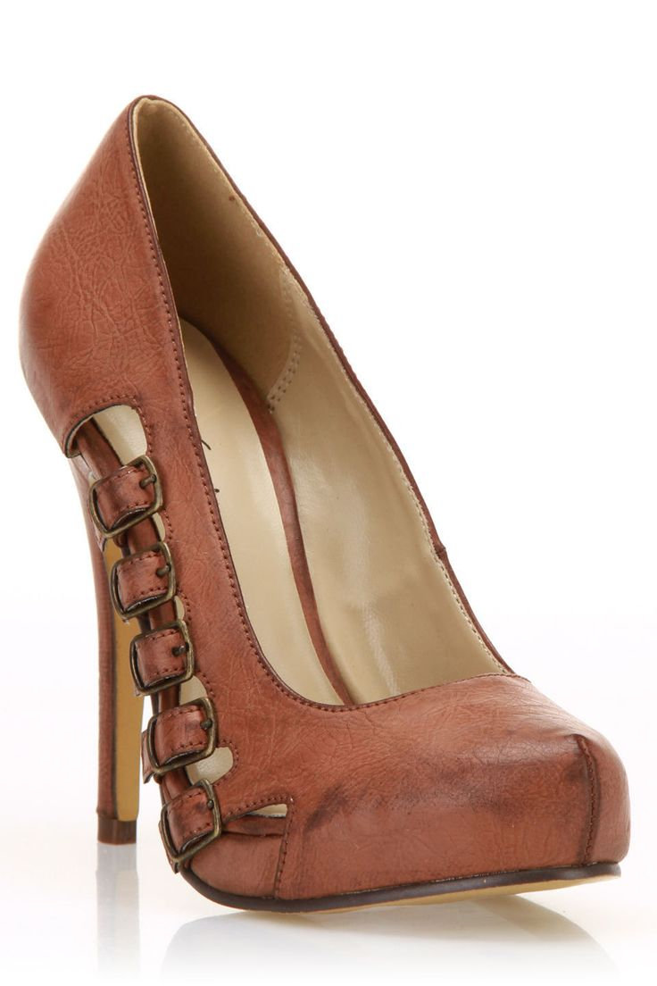 Brown leather heels with buckles....love