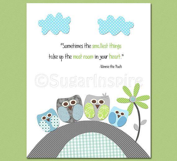 Aqua gris et vert pépinière Art imprimer ensemble Kids Room