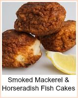 Smoked Mackerel Fish Cakes. People don't buy fish much - they're a bit scared as they don't know what to do with it.  As a consequence, you will often find fish in the 'marked down' section of any supermarket.  Peppered mackerel, wet fish, smoked fish - anything that's 'on offer' will do.  The horseradish is very good with mackerel - it cuts through the oiliness of the fish - if you use oily fish, then you must have horseradish - even a little bit if you're not keen on the hotness of it.