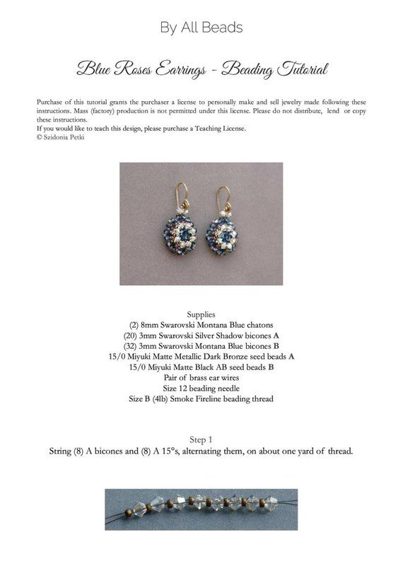 d4af9c5a5 Beaded Earrings Tutorial - Blue Roses Earrings - 8mm Beaded Bezel ...