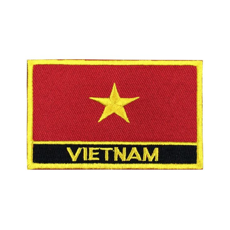 Vietnam Flag Patch Embroidered Patch Gold Border Iron On patch Sew on Patch Bag Patchmeet you on Fleckenworld.com