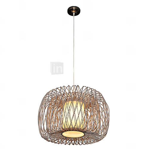 Lounge room   Stylish Pendant Light with 1 Light in Bamboo