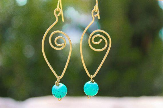 """Handmade brass """"Irin"""" earrings/Turquoise Earrings/Greek Jewelry/ Artisan Handmade Brass Earrings/ Beaded Earrings/ Chic Jewelry"""