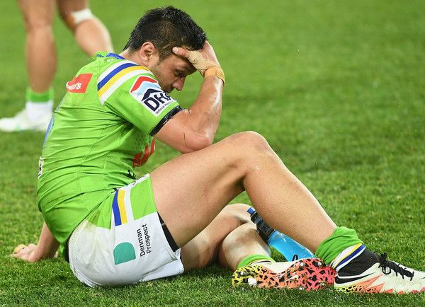 Jordan Rapana of the Raiders looks dejected after losing the NRL Preliminary Final match between the Melbourne Storm and the Canberra Raiders at AAMI Park on September 24, 2016 in Melbourne, Australia.