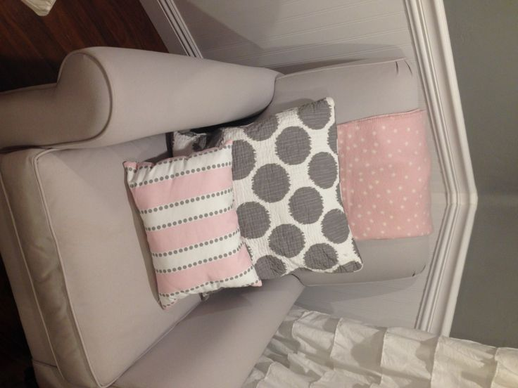 Project Nursery - Gray Nursery Glider with Pink and Gray Accents