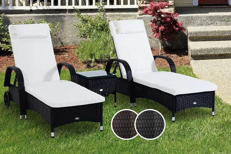 3pc Rattan Sun Lounger & Table Set - 2 Colours! deal in Sheds & Garden Furniture Add a touch of luxe to your garden with a three-piece rattan furniture set.  Includes two sun loungers.   And a glass-topped table.  Plus waterproof white cushions.  Made from weatherproof rattan.  Choose either black or brown. Please see dimensions below. BUY NOW for just £219.00