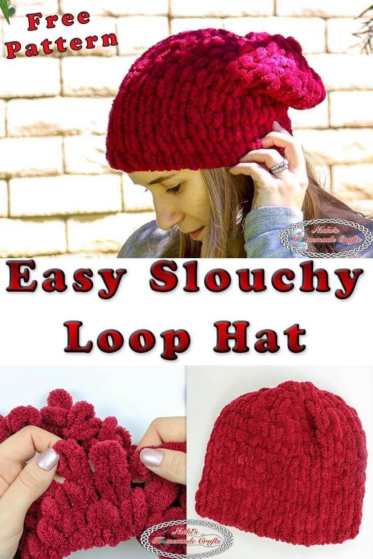 Easy Slouchy Loop Hat Free Pattern Using Loop Yarn Finger Knitting Projects Finger Crochet Finger Knitting