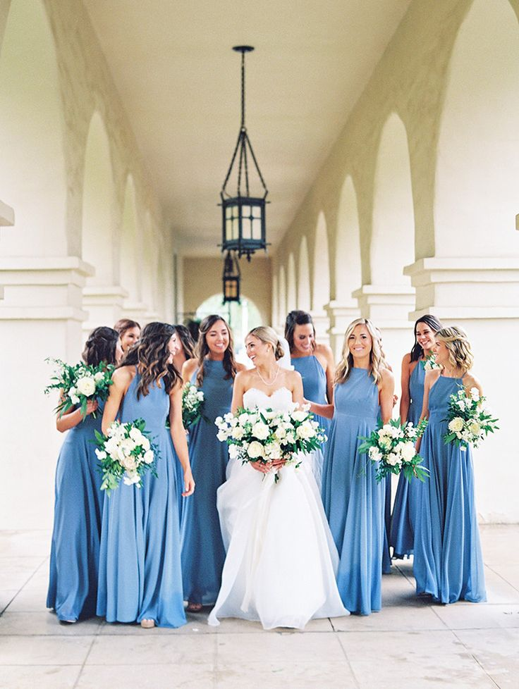 robins egg blue bridesmaid dresses and white bouquets
