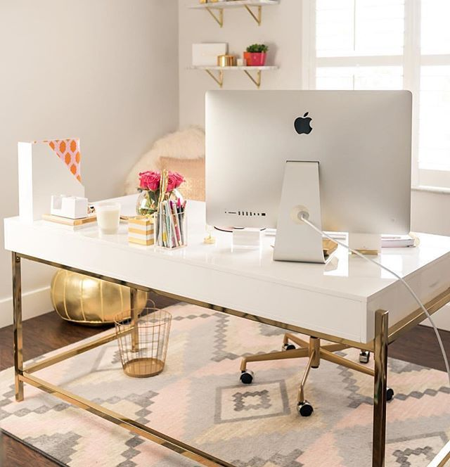 #OfficeEnvy is a real thing ..... @fancythingsblog  shop gold, marble and luxe office decor in our shop! Link in bio