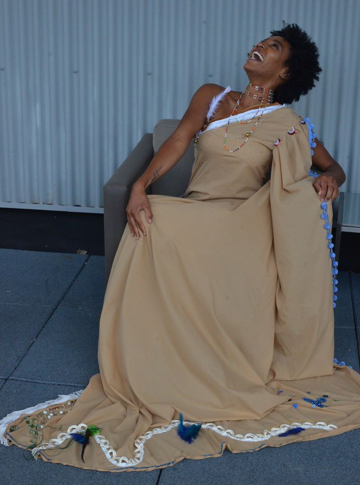 Gown made from recycled fabric, reused finishings and embellishments from Creative Reuse Center. Sustainable fashion. Spring 2018 Collection.