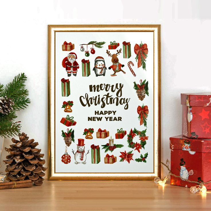 Merry christmas, Christmas poster, Holidays print, Printable poster, Christmas digital poster, Christmas wall art, Instant download by PrintDigitalArt on Etsy