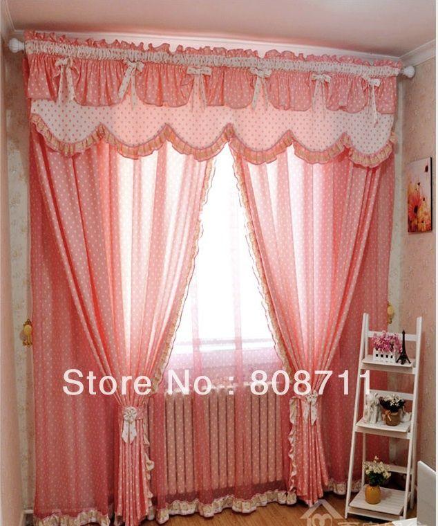 off por encargo de empalme elegantes cortinas plisadas de estilo mediterrneo rosa verde puntos azules incluyendo la cenefa ms