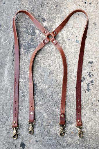 TM1985 + ALTER leather suspenders in brown