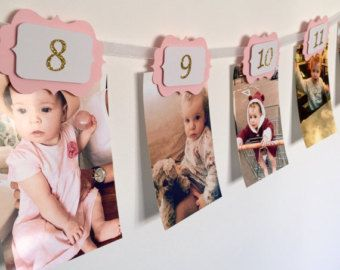 12 months photo banner. First birthday banner. by InspiredbyAlma