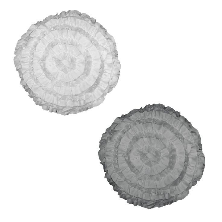 Cosmo Ruffles Round Filled Cushion 40 cm Diameter by Perle Linge de Maison