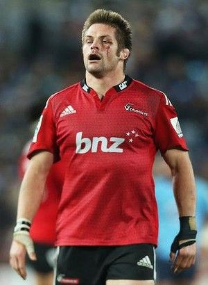 Bloodied and beaten: Crusaders veteran Richie McCaw after conceding the crucial late penalty to the Waratahs.