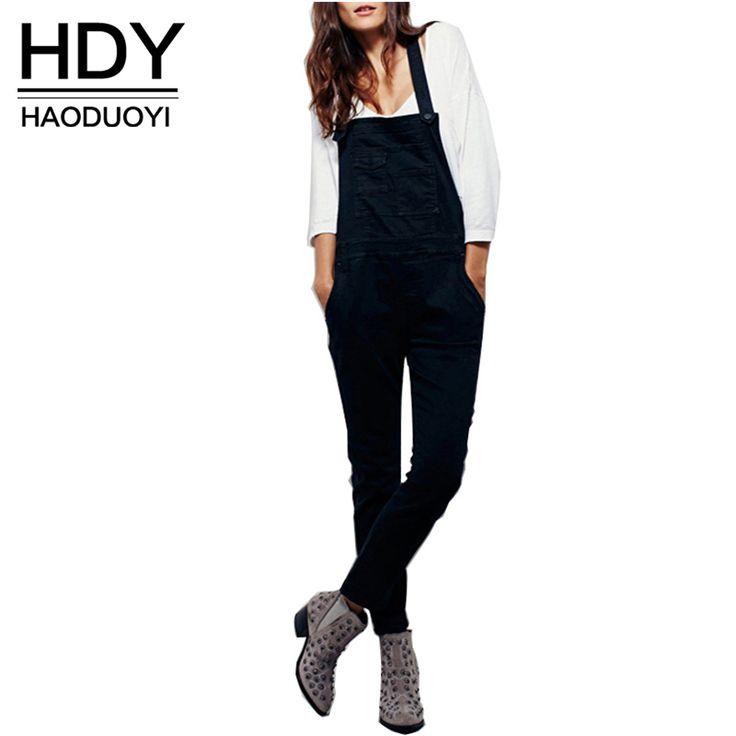 Hdy haoduoyi color sólido de las mujeres del mono sin mangas de slash cuello alto mono de la cintura de las mujeres cruz volver delgado buzos casual