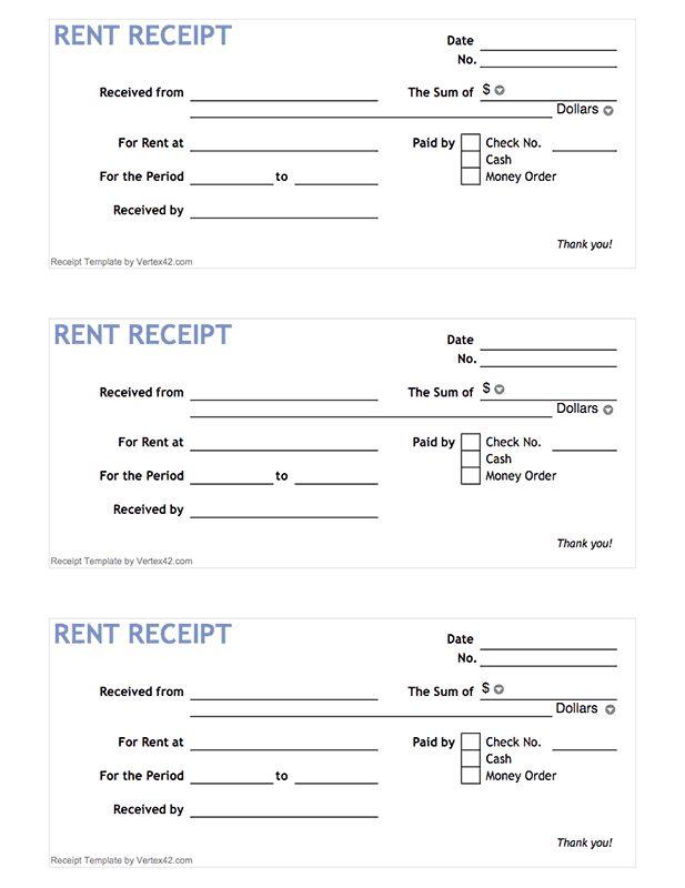 Free printable Rent Receipt Form (PDF) from Vertex42.com