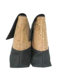 Black & cork leather whit gold or silver. Handmade bag