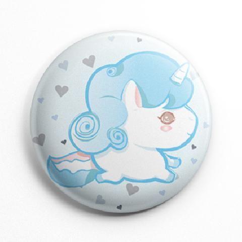 Blue unicorn button