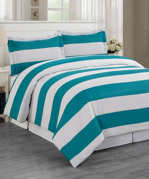 Take a look at the Teal Stripe Delia Duvet Set on #zulily today!