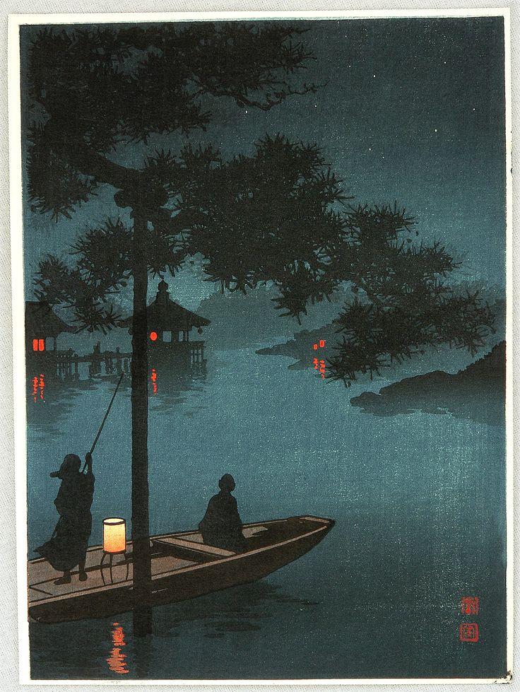Lake Biwa, by Shoda Koho, ukiyo-e woodblock print, ca. 1910-30 // 対岸の灯り眺めながら…