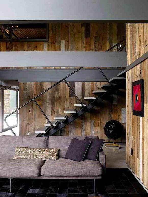 Design for exterior stairs, color scheme for interior beams? Modern Cabin Interior