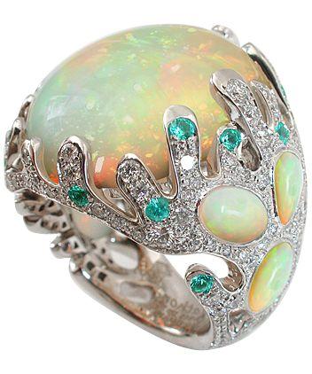 White gold Diamonds Wollo opals Paraiba tourmalins by Mathon