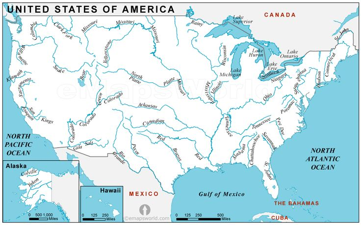 usariversmap. good to know Canada lakes, United states