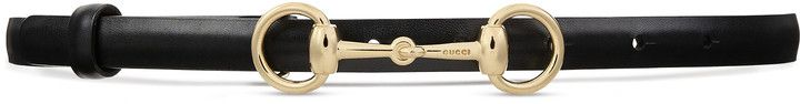 Leather skinny belt with Horsebit
