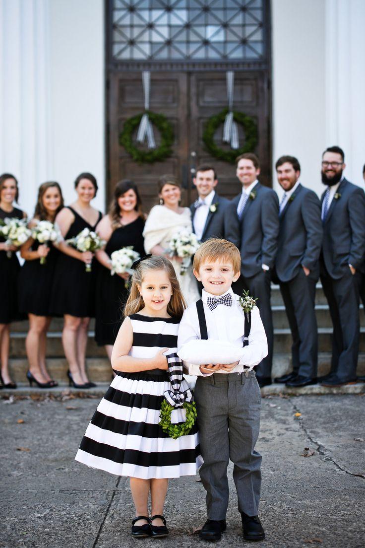 Black & white striped dress, flower girl, wreath, ring bearer in suspenders // Love Ya Jess Photography
