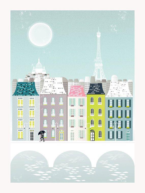 Paris Print, Paris Art Print Poster, Eiffel Tower Paris Skyline Wall Art Prints…