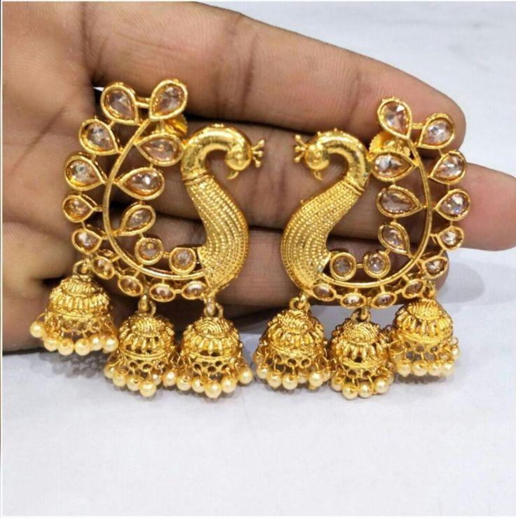 Indian Asian Bridal Jewellery Bollywood Party Ethnic Wear Polki Jhumka Earrings #VGJewel #DropDangle