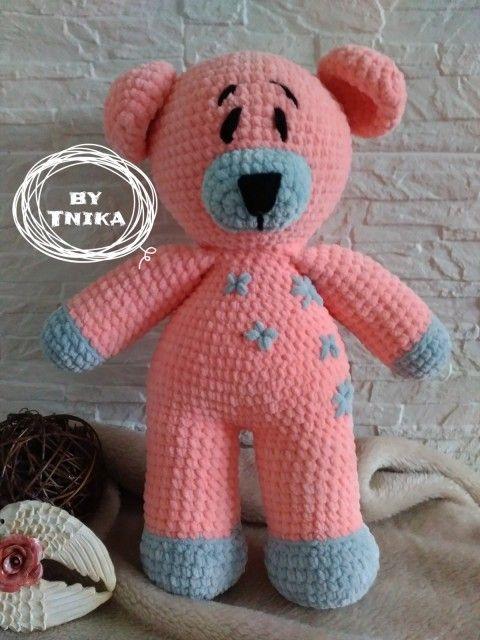 Crochet Teddy bear - Medvídek KESSI medvídek medvěd mazlík do postýlky háčkovaný medvěd na mazlení bezpečná hračka velký medvěd