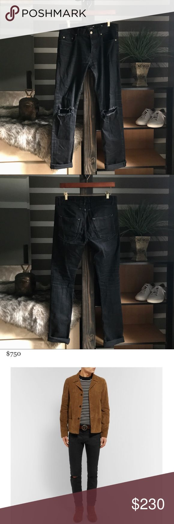 Saint Laurent Ripped Knee Distressed Denim Jeans They are in good used condition. There is some normal wearing but Saint Laurent is a high quality brand and their products are built to last. Years and years still left in these bad boys. Stretch denim. Knee slits. You can feel the quality when wearing them. Listed as a 32 waist bc that's how they feel. If you have any questions please send me a message and I'll get back to you as swiftly as I can.  Also if you want check out the rest of my…