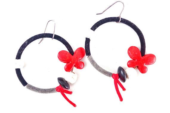 Butterfly Earrings With Silver Hooks, Boho Medium Hoops, Spring Jewelry Gift For Sister, Textile Hoop Earrings For Everyday, Red And Black #BohemianSummerTales #hoopearrings #butterflyearrings