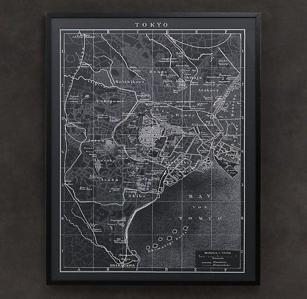 Restoration Hardware- 1900s Lithograph Map of Tokyo