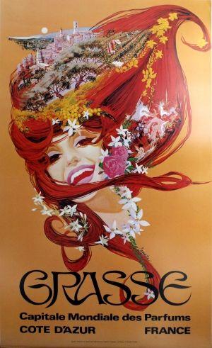 Grasse - Capitale Mondiale des Parfums, 1970s - original vintage poster by Steve Carpenter listed on AntikBar.co.uk